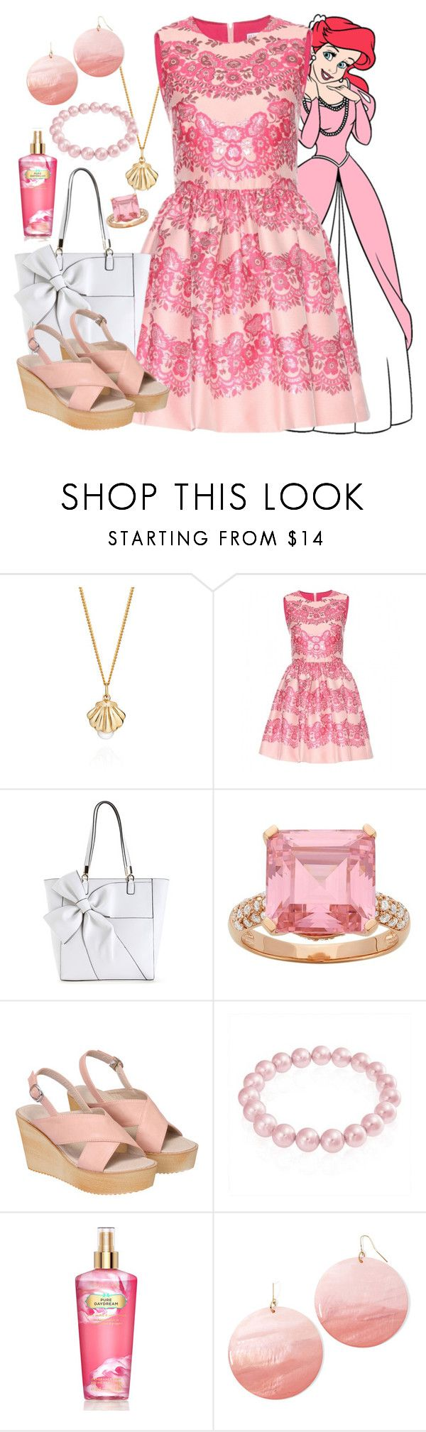 """Ariel - Formal - Disney Bound"" by rainbowbaconcupcake ❤ liked on Polyvore featuring Lee Renee, RED Valentino, Bling Jewelry, Victoria's Secret and Mixit"