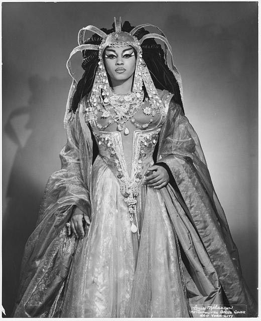 "Leontyne Price as Cleopatra, 1966 -Mary Violet Leontyne Price (born Feb 10, 1927) an American soprano. She rose to international acclaim in the 1950-1960s - one of the first African Americans to become a leading artist at the Metropolitan Opera. Critic characterized Price's voice as ""vibrant"", ""soaring"" & ""a Price beyond pearls"", as well as ""genuinely buttery, carefully produced but firmly under control"", with phrases that ""took on a seductive sinuousness."""