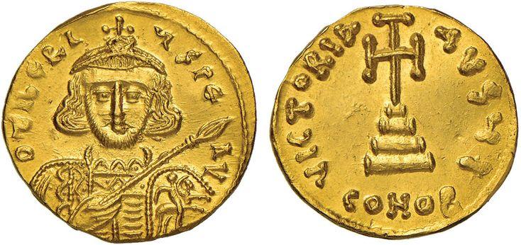 NumisBids: Nomisma Spa Auction 50, Lot 44 : BISANZIO Tiberio III (698-705) Solido - Busto di fronte – R/ Croce...