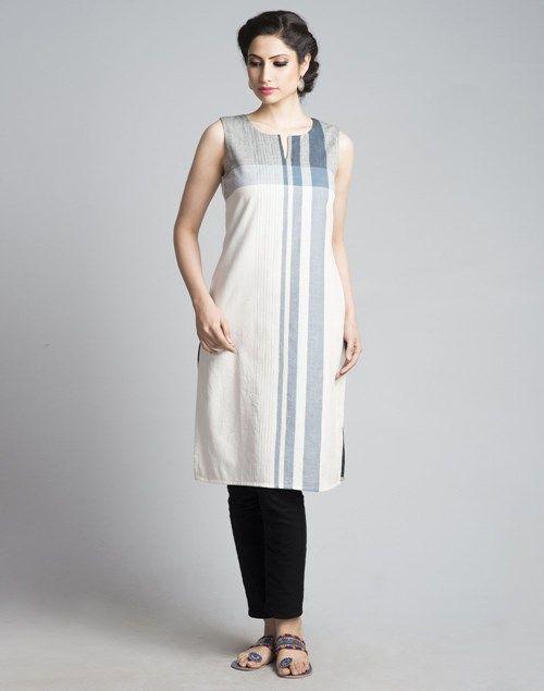 Cotton FabricKnee Length KurtaPlainEngineered StripeRound Neck with SlitSleevelessA-lineHand Wash Separately in Cold Water