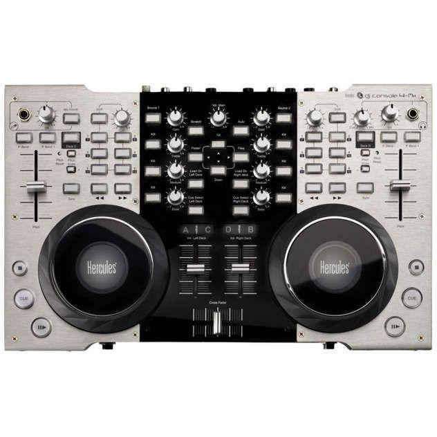 La DJ Console 4-Mx est une station DJ avec large surface de contrôle pour les DJ mobiles sur ordinateur. Son contrôleur DJ en métal à 2 et 4 platines pour mixer 2 ou 4 pistes stéréo.