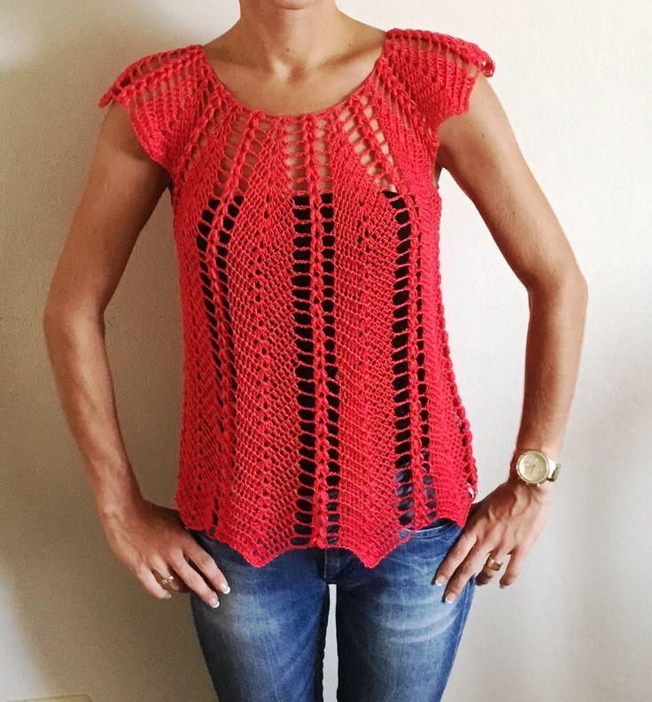 Magnifique blouse au crochet ajouré 1 / Linda blusa tejida a crochet fac...