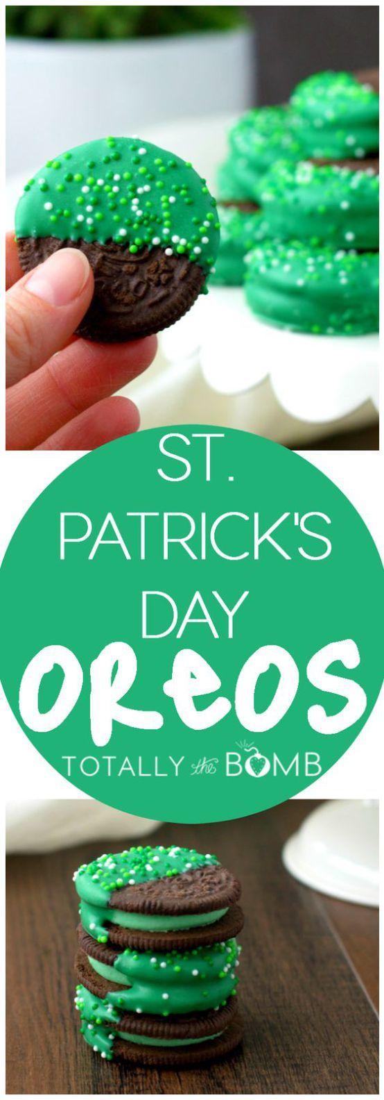 St. Patrick's Day Mint Dipped Oreos - Green Treats Recipe via Totally the Bomb
