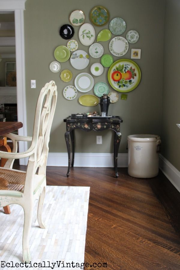 LOVE this eclectic plate wall - this dining room is stunning! eclecticallyvintage.com
