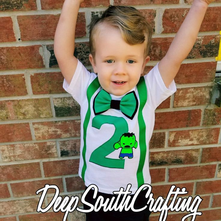 Hulk smash super hero avengers green machine first second third smash cake birthday onesie toddler shirt bow tie suspenders embroidery of child name add on fee. Custom made by: DeepSouthCrafting