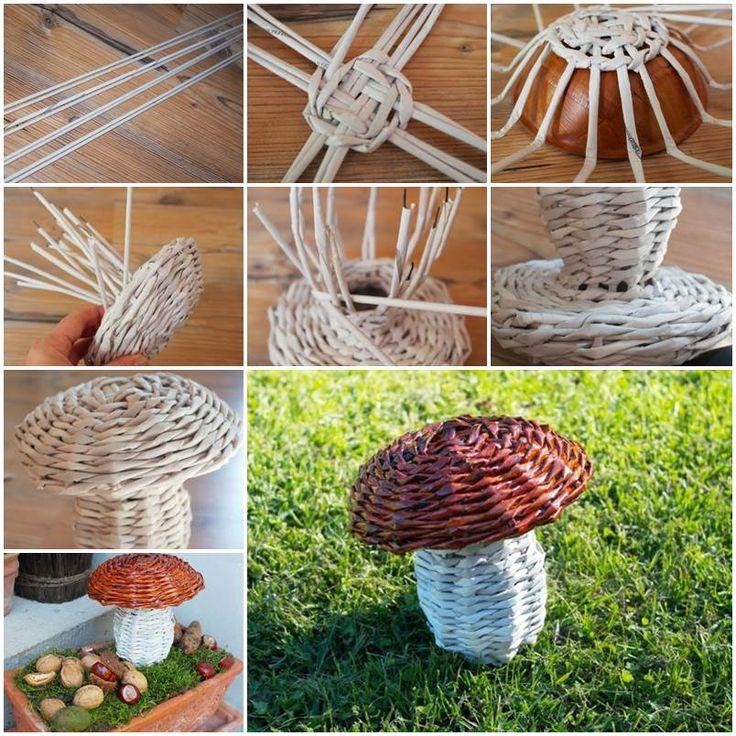 DIY Woven Paper Mushroom 1