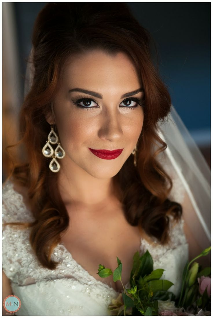 Bridal Portrait; Wedding Jewelry; Meagan and Nate Photography; Bridal Makeup; Red Lip Stick
