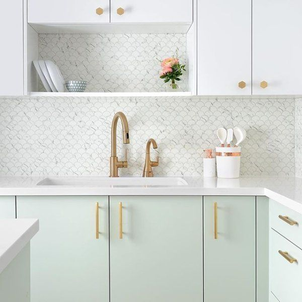Amp Brushed Brass Handles In 2020 Kitchen Remodel Kitchen Design Rustic Kitchen Design In 2020 Mint Green Kitchen Kitchen Interior Home Decor Kitchen