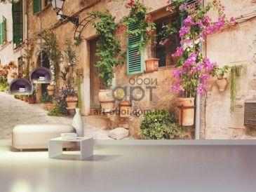фотообои старый город, улочка, цветы в горшках