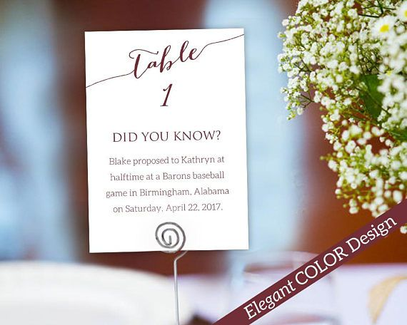 Fun Facts Table Number Card Template Instantly Edit And Print Your Own Cards With Room For Interesting This Listing Includes