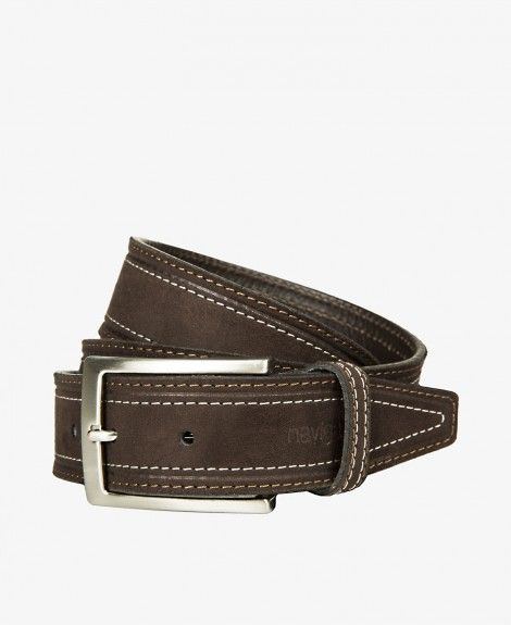 Leather and synthetic material belt, suede with contrasting double stitching. Made in Italy. Equipped with square metal buckle, double loops and Navigare logo | Navigare