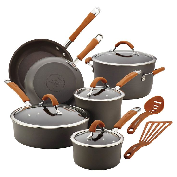 Create numerous delectable meals and countless cherished memories with the Rachael Ray Cucina Hard-Anodized Nonstick 12-Piece Cookware Set. The durable pots and pans in this stylish, practical cookware set are sturdily crafted from hard-anodized aluminum which provides fast, even heating and helps to reduce hot spots that can burn foods. The appealing espresso-colored nonstick is PFOA-free and long-lasting to provide easy food release and cleanup. Offering a comfortable grasp, the…