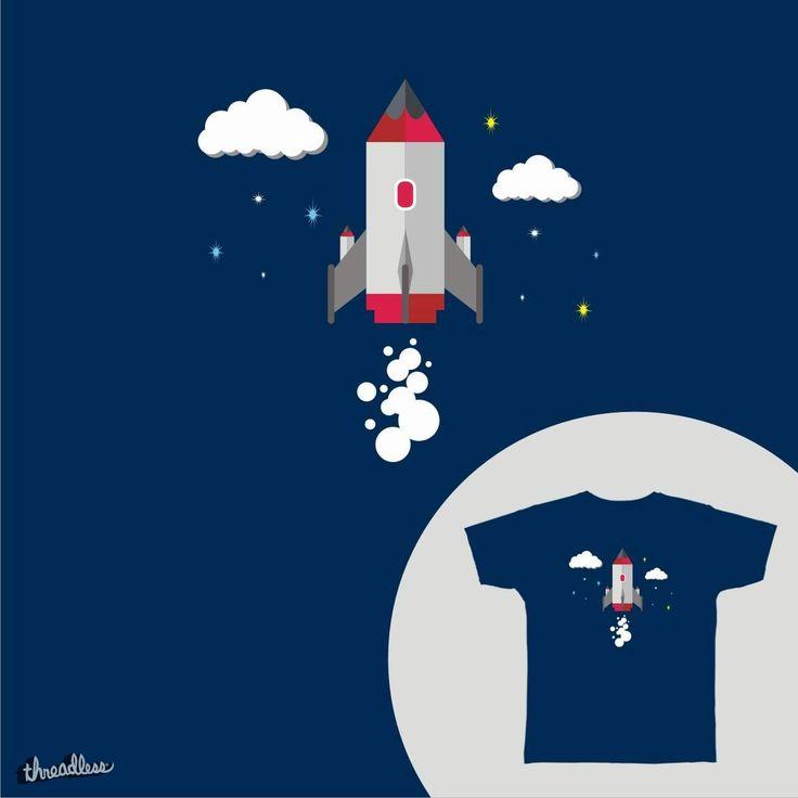 Flying Rocket at dark night on Threadless