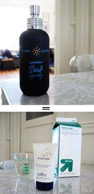 DIY BUMBLE SURF SPRAY: Why pay $20 when you can make it at home for $0.02? Recipe: 3 teaspoons Epsom Salt 3 squirts Water-Based Hair Gel 4 ounces Tap Water
