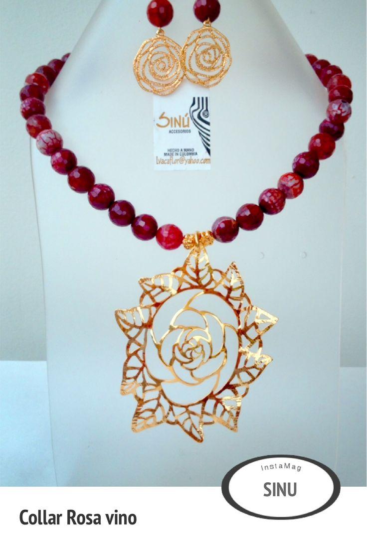 Collar rosa en bronce con ba o de oro piedras aghatas for Bano de oro el yunque