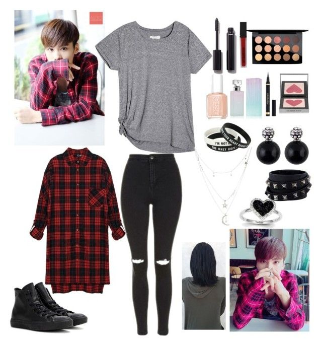 """ASTRO Rocky"" by bts-got7-shinee ❤ liked on Polyvore featuring Topshop, Converse, Chanel, Smashbox, MAC Cosmetics, Essie, Calvin Klein, Yves Saint Laurent, Burberry and Charlotte Russe"