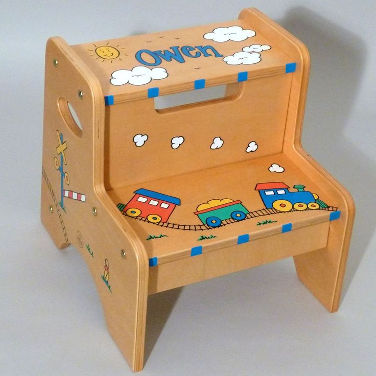 Natural Two Step Stool is hand painted and personalized with an adorable Train at Neat Stuff & 676 best sillas images on Pinterest | Chairs Step stools and ... islam-shia.org
