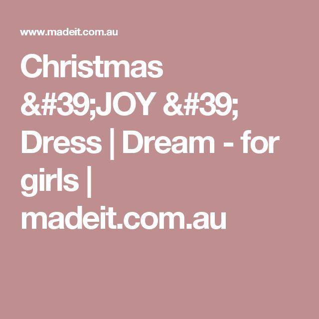 Christmas 'JOY '  Dress   | Dream - for girls | madeit.com.au