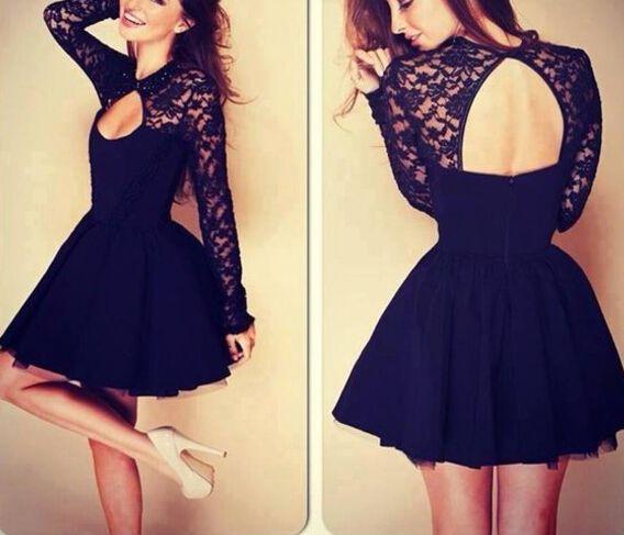 Cute Little Black Lace Stitching Dress, #cutedresses,, #littleblackdress