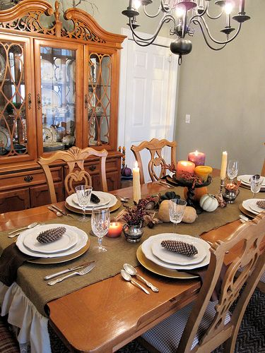 Love This Turkeytablescapes From Lladybird With A Burlap Table Runner And Autumn Centerpiece