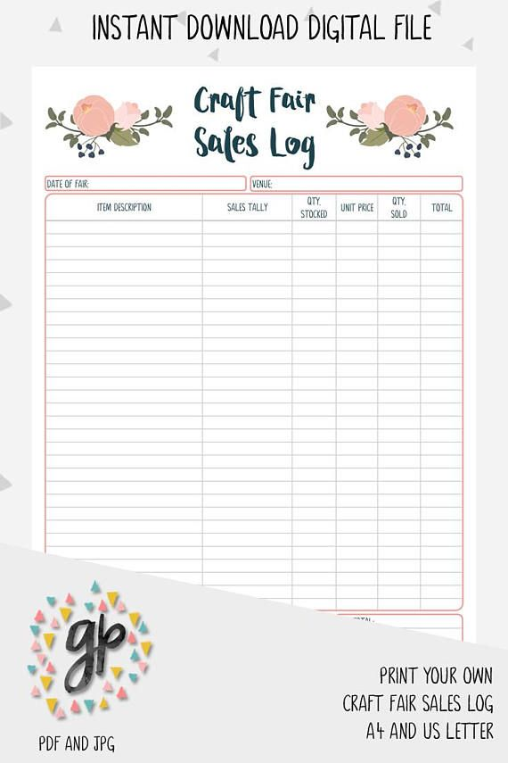 craft fair sales log handmade business business planner craft