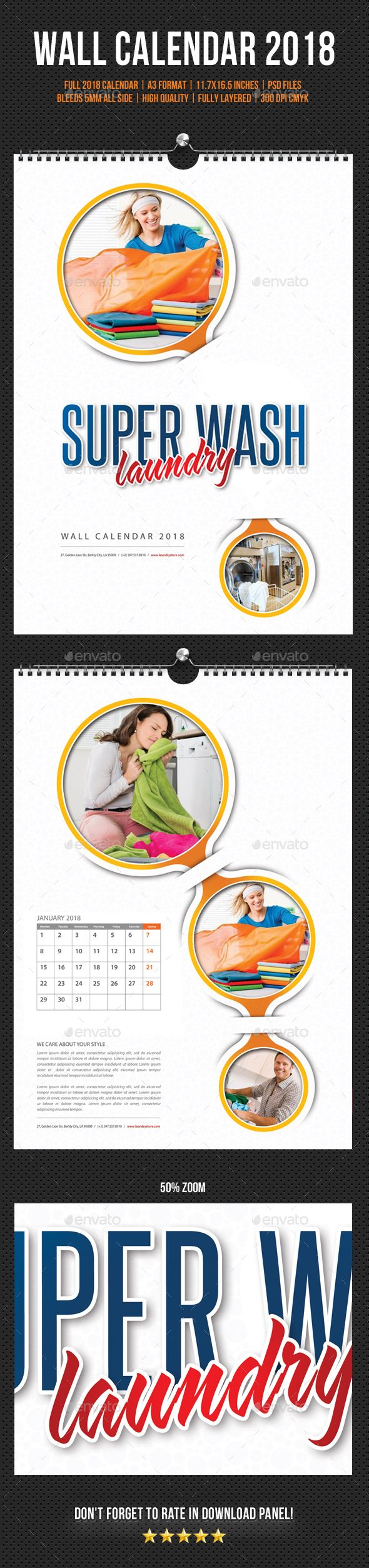 Laundry Services Wall Calendar 2018
