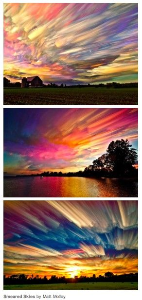 Smeared Skies by Matt Molloy http://www.thisiscolossal.com/2013/04/smeared-skies-made-from-hundreds-of-stacked-photographs-by-matt-molloy/