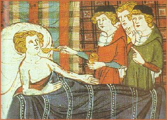 Medieval Medicine - Here we see doctors administering medicine to a patient. http://simon-rose.com/books/the-heretics-tomb/medieval-medicine/