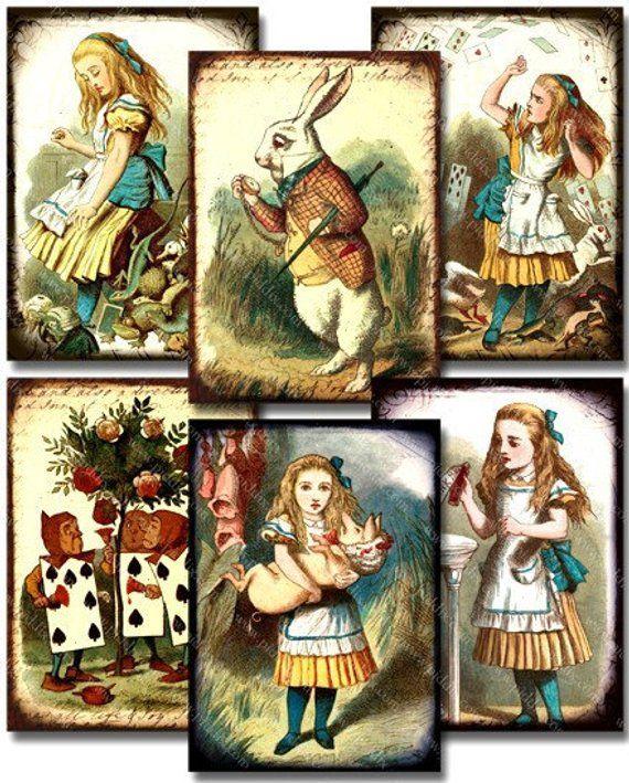 Алиса в стране чудес картинки декупаж
