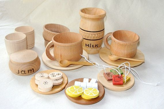Teatime set. Wooden play kitchen set. Wooden by fairyitemshop