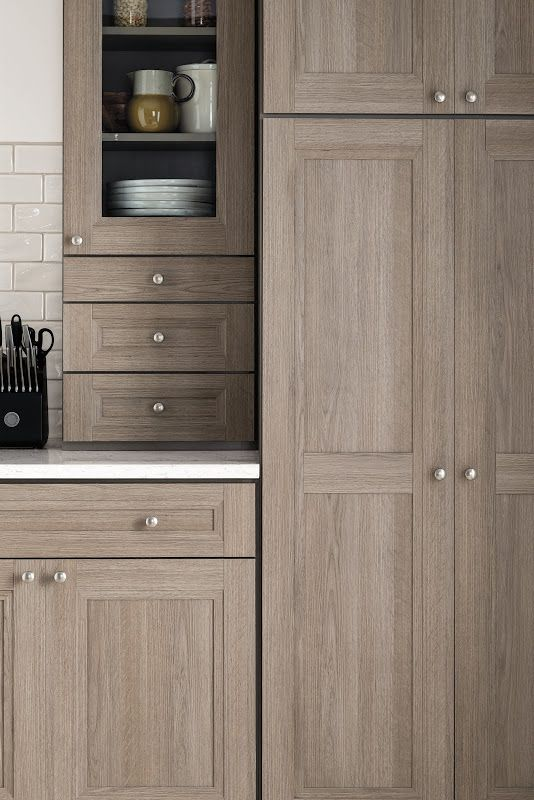 This is closer shot of our new Tipton kitchen cabinetry with the all-new Orchard gray textured PureStyle finish. Beautiful!