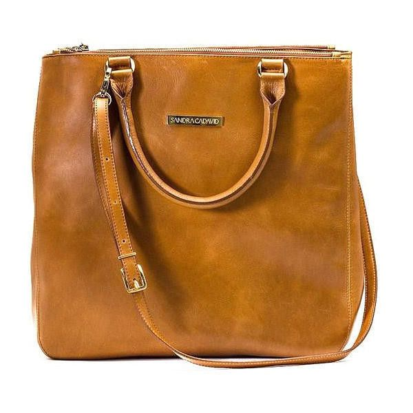 Sandra Cadavid Miss saddle brown leather tote bag found on Polyvore