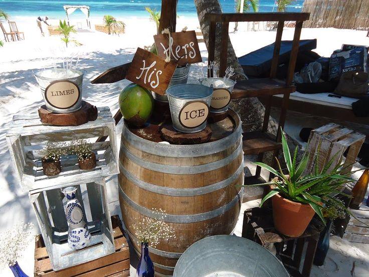 """CBA123 Weddings Riviera Maya, Tequila station shot Set up """"B"""", 3 wood cags, 4 tin cans, agave plant and signs over coconuts / Bodas, estacion de tequila con huacales, planta de agave ,cubetitas de laton, letreros y cocos, Set up """"B"""""""