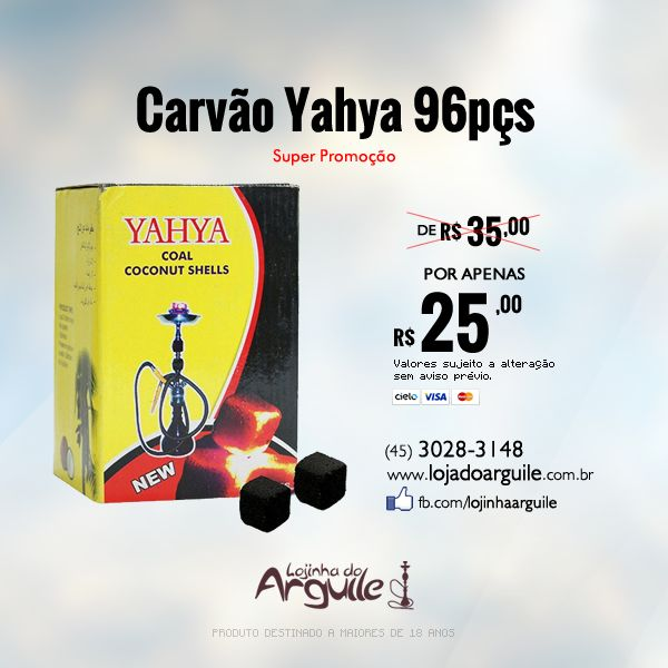 Carvão Yahya 96pçs De R$ 35,00 / Por R$ 25,00 até 5x de R$ 5,46 ou R$ 23,75 via depósito  Compre Online: http://www.lojadoarguile.com.br/carvao-yahya-96pcs