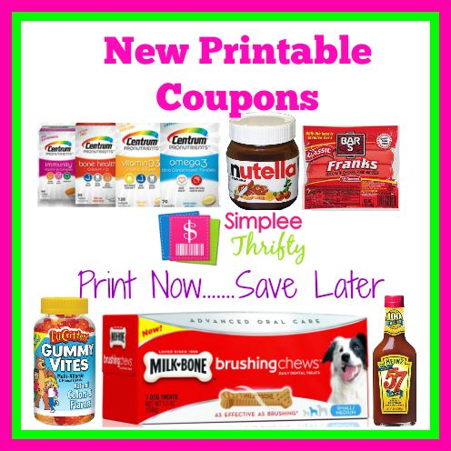 New Printable Coupons {5/3/14}   Heinz 57, Nutella, Gummy Vitamins, Pure Protein Bars, Centrum & More!