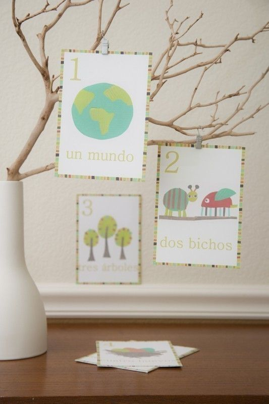 Spanish Number (Counting) Nature Themed 5x7 Childrens Wall Cards