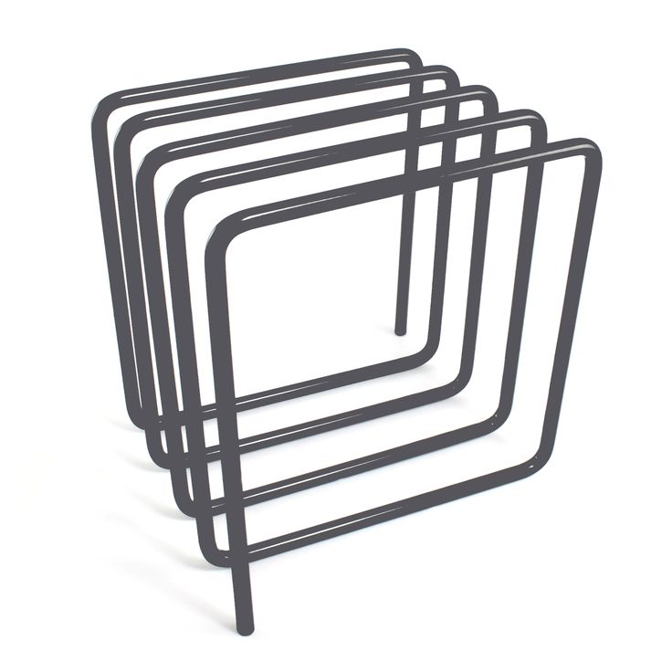Grey Magazine Rack by Block. Magazine Holder stores up to 8 magazines or files. A stylish Desk Organiser in wire. Comes in Grey, Blue and Red