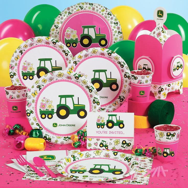 John Deere PINK Birthday Party Supplies ... kinda cute, huh! Lol!