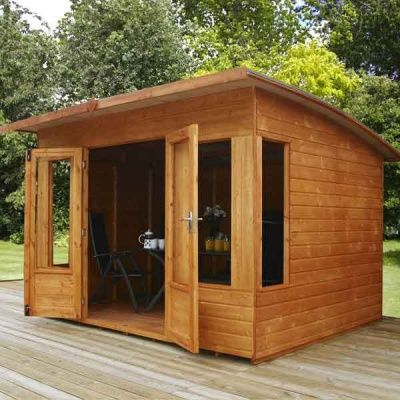 Great Value Sheds, Summerhouses, Log Cabins, Playhouses, Wooden Garden Sheds, Metal Storage Sheds Fencing & More from Direct Garden Buildings 10 x 8 Contemporary Helios Wooden Garden Summerhouse Curved RoofFREE Delivery