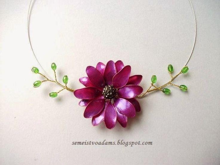 Necklace Wire flowers with nail polish / Цветы из проволоки и лака для ногтей by semeistvoadams.blogspot.com
