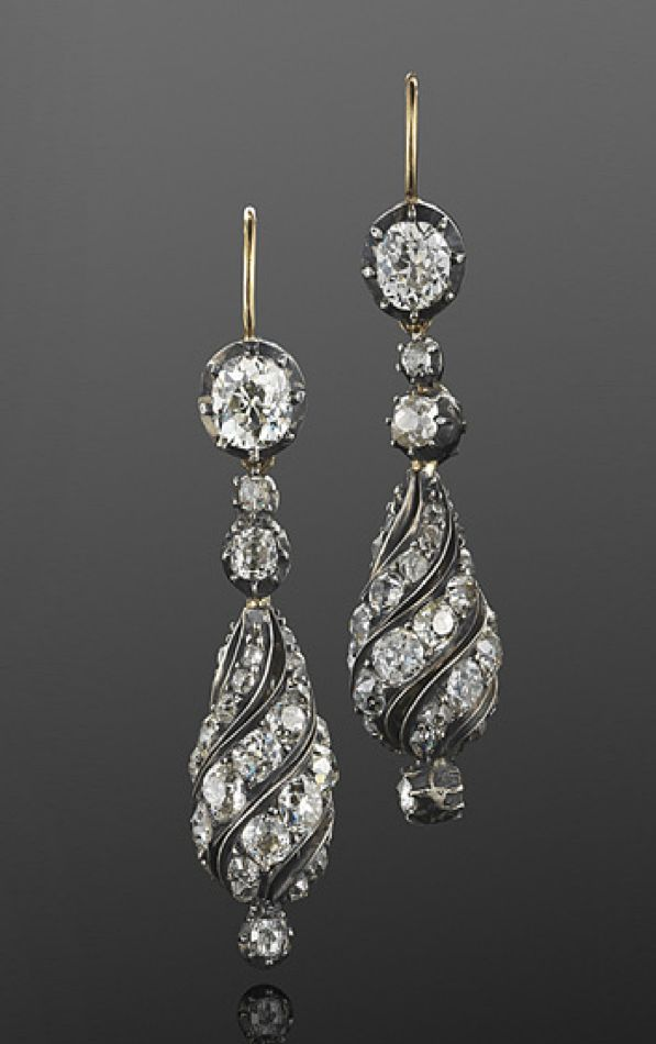 Antique Old Mine Diamond Spiral Pendant Earrings, French, circa 1880