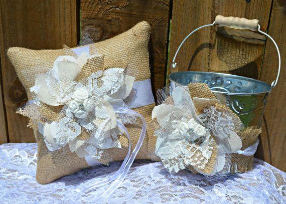 Burlap Ring Bearer Pillow and Flower Girl Bucket Burlap and Lace Flower Burlap Ring Pillow and Flower Girl Basket www.sherisewsweet.etsy.com