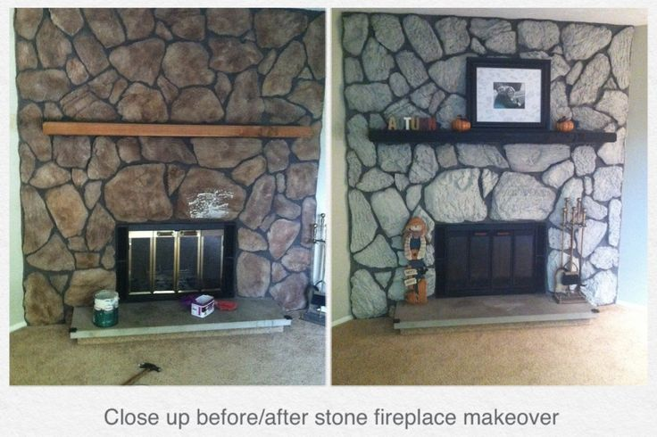 Stone fireplace makeover! Watered down paint brushed and sponged on the stone & brushed random stones/all grout with Annie Sloan Chalk Paint in French Linen. Heat resistant spray paint on the gold trim.