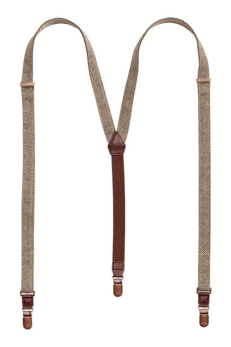 Herringbone-patterned braces - Beige - Men | H&M GB 1