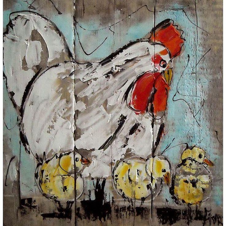 ST0417 schilderij kip met kuikens steigerhout diverse afmetingen - kopen bij mooiaandemuur.com