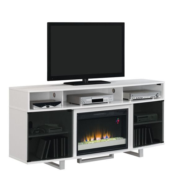 Enterprise Lite Contemporary TV Stand with 26 Inch Contemporary Electric Fireplace, Gloss White