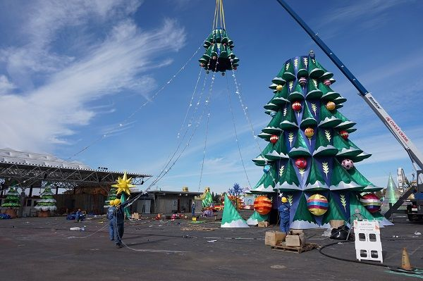 Christmas is being assembled at Global Winter Wonderland, Sacramento