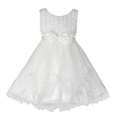 Girl's+White+Flower+Tulle+Party+Wedding+Pageant+Bridesmaid+Princess+Dresses+–+EUR+€+22.53