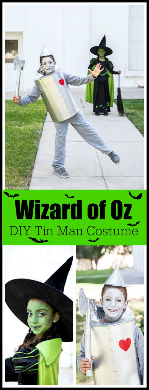 DIY Tin Man Costume for kids – how to make a tin man costume out of a cardboard box. #Boxtumes #AmazonPrime AD