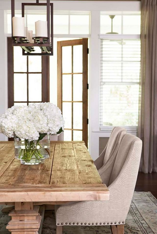I Think This Will Be Happening In My Future   Rustic Farmhouse Table Paired  With Sleek Fabric Dining Chairs. By Linda McDougald Design